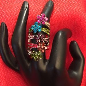 Jewelry - Multi Color Crystal Flower Knuckle Ring